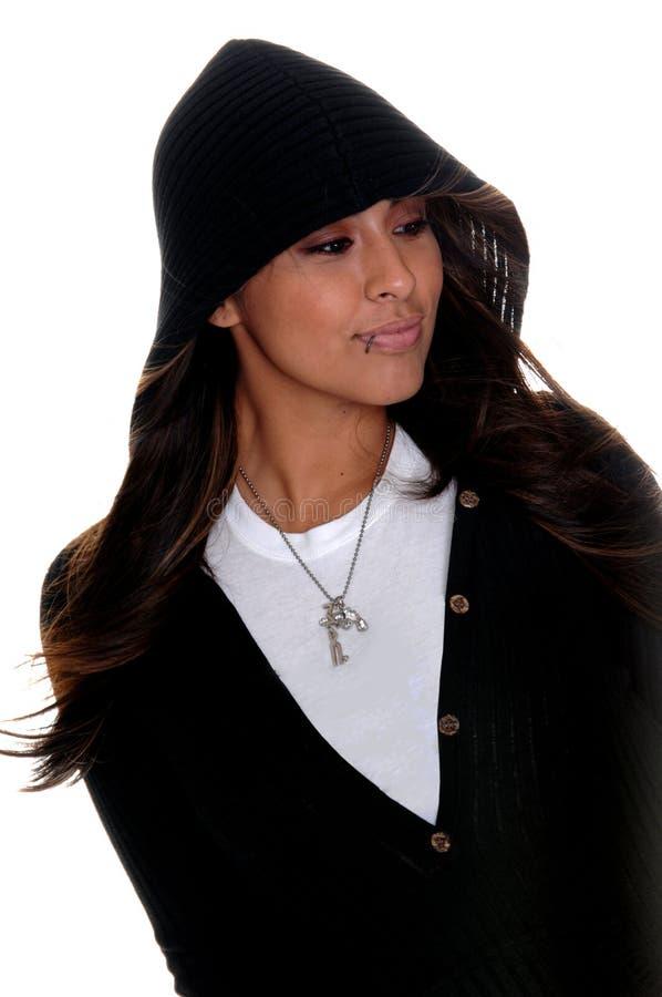 Latina dans le Hoodie image stock