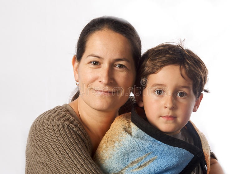 Latina Hugging Her Son Royalty Free Stock Image