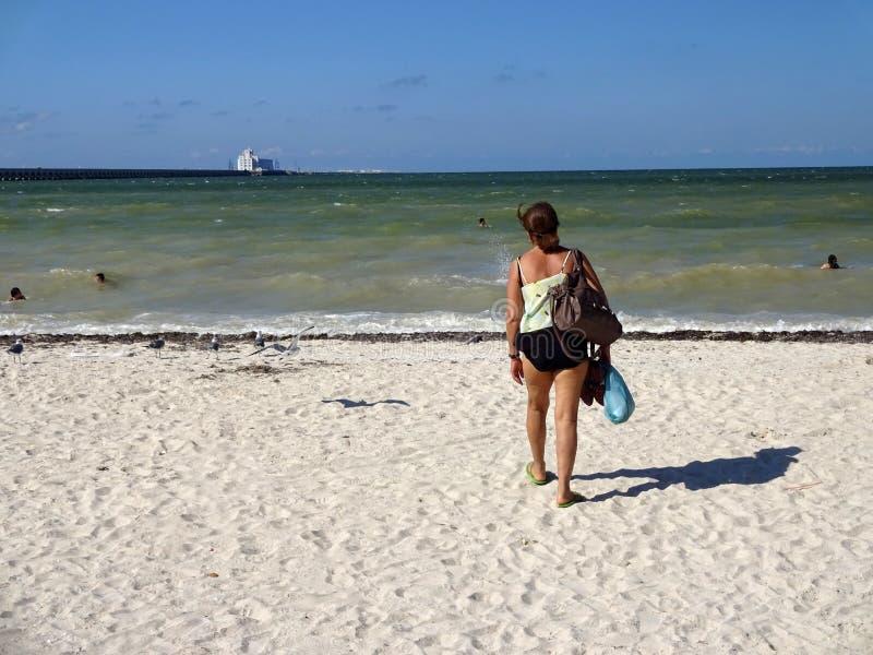 Latina na praia de Progresso fotos de stock royalty free