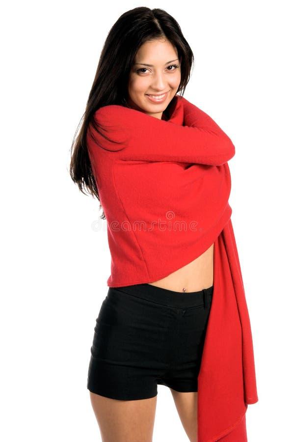 Latina nel colore rosso fotografie stock