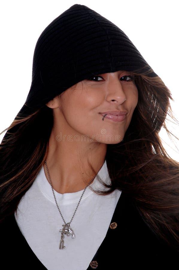 Latina no Hoodie fotografia de stock royalty free