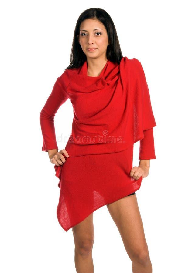 Latina in Rood royalty-vrije stock fotografie