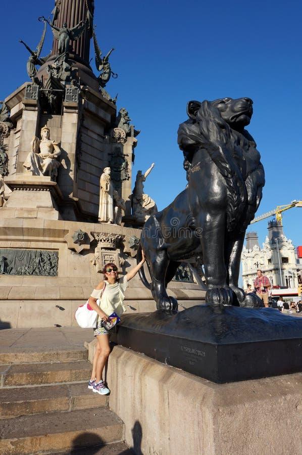 Latina Tourist at the Christopher Columbus Memorial stock photography