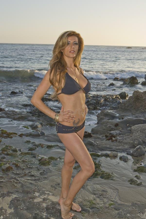 Latina Woman in Black Bikini at the Beach. Beautiful Latina Model in a Bikini at Sunset on the Beach stock image