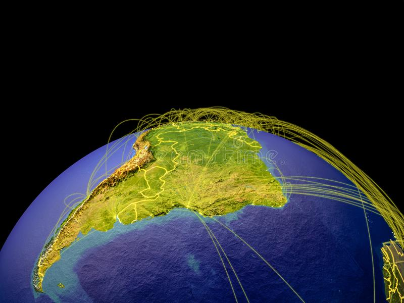 Latinamerika på jord från utrymme royaltyfri illustrationer