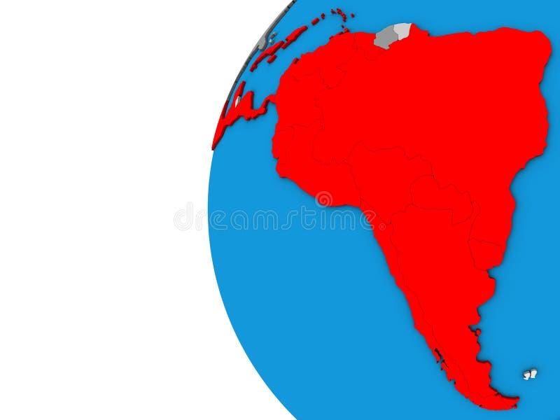 Latinamerika på jordklotet 3D royaltyfri illustrationer