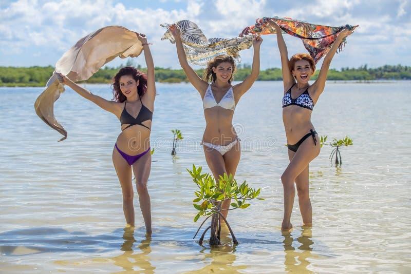 Latinamerikanmodeller på stranden arkivfoto