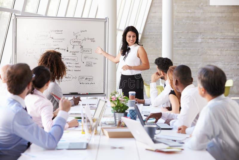 Latinamerikansk tabell för affärskvinnaLeading Meeting At styrelse arkivfoton