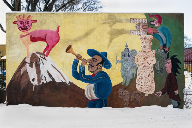 Latinamerikansk väggmålning, Santa Fe, New Mexico, USA arkivbild