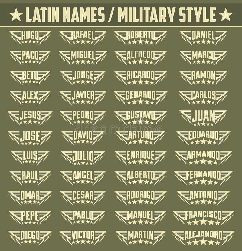 Latinamerikanska populära namn, uppsättning av militär stil förser med märke med personliga latinska namn stock illustrationer