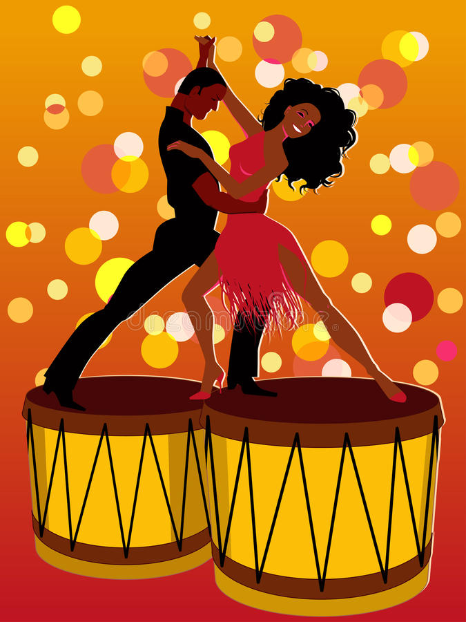 Latino couple dancing on bongos stock illustration