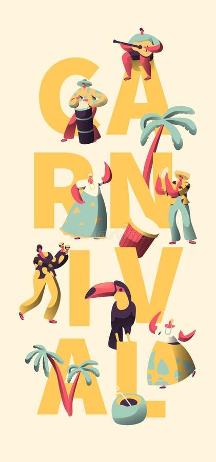 Latino Karnevals-Partei-Charakter-Tänzer Banner Template Mann-Frauen-Tanz am brasilianischen Feiertags-Musik-Festival lizenzfreie abbildung