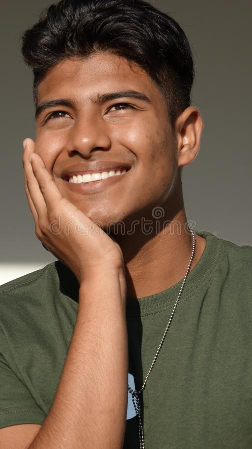 Latino Male Soldier Wondering stock photography