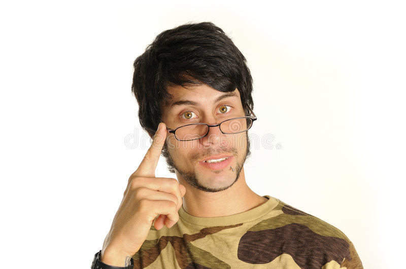Download Latino man with eyeglasses stock photo. Image of concentrated - 8971018