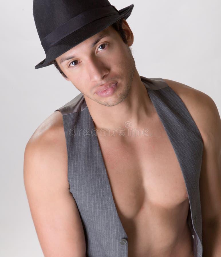 Latino Mannetje met een Hoed stock foto