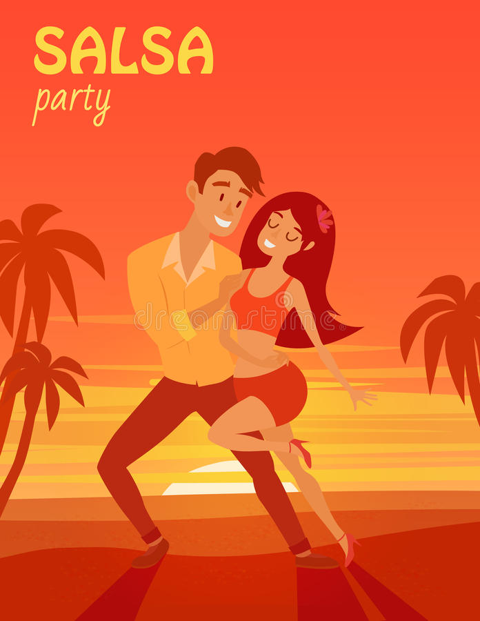 Latino party affiche. Salsa latino dancer on beach vector illustration. Cuban couple of happy woman and man royalty free illustration