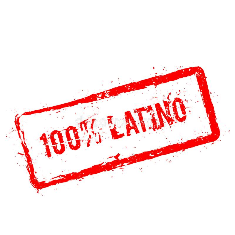 100% Latino red rubber stamp isolated on white. vector illustration