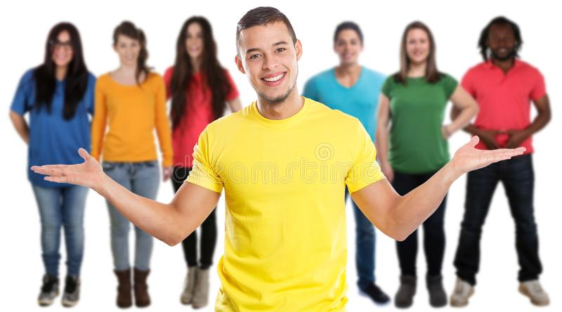Latino social do latino dos meios dos jovens dos amigos isolado no branco imagem de stock