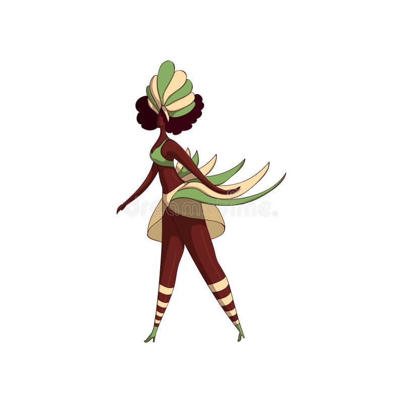 Latino woman in dancing action. Samba dancer. Girl in bikini and headdress with feathers. Brazil festival. Vector design stock illustration