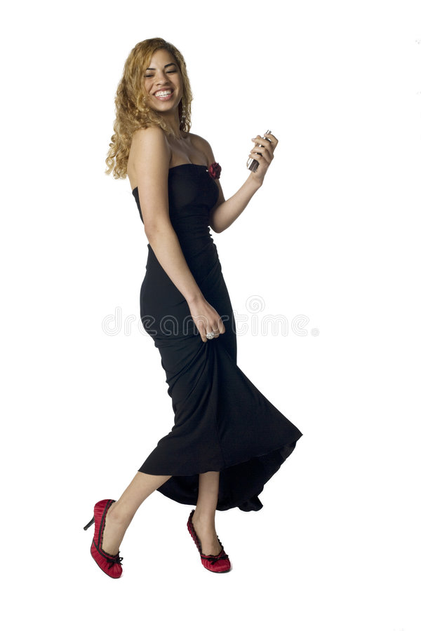 Latino woman in evening dress stock images