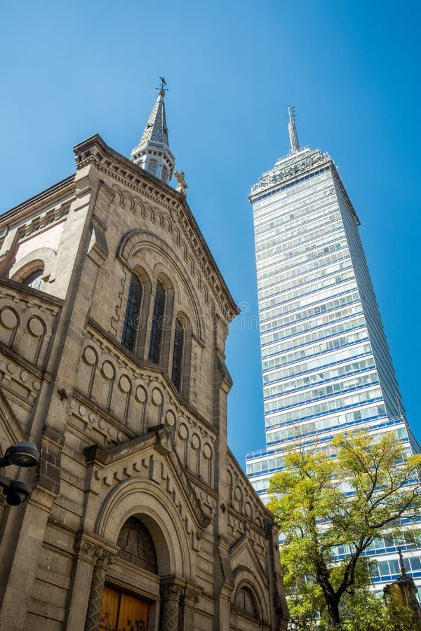 Latinoamericana Tower and Church San Felipe de Jesus, Mexico City royalty free stock photography