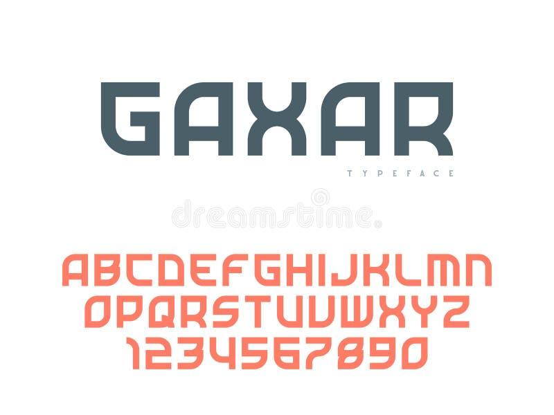 Latinska stora bokstavsalfabetbokst?ver och nummer Abstrakt stilsort ocks? vektor f?r coreldrawillustration vektor illustrationer