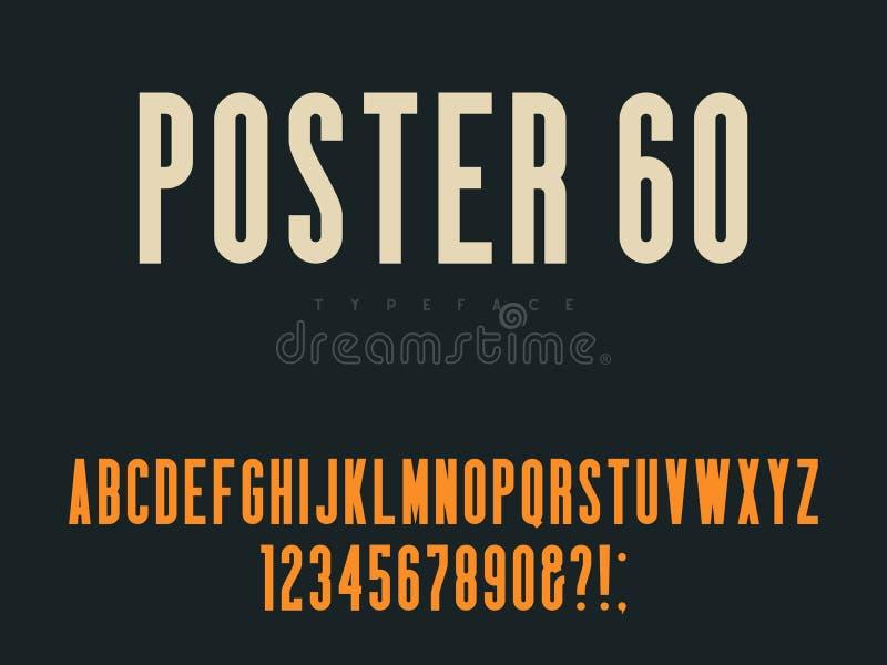 Latinska stora bokstavsalfabetbokst?ver och nummer Retro affischstilsort ocks? vektor f?r coreldrawillustration royaltyfri illustrationer