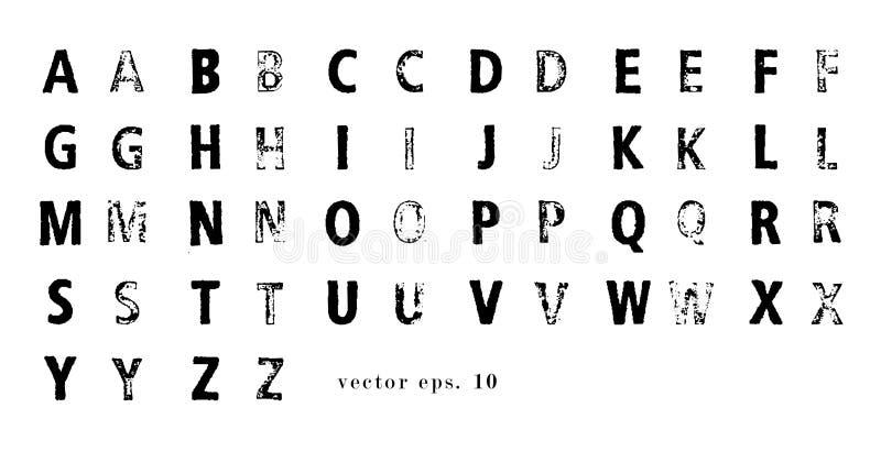 Latinskt alfabet för vektor Lattin lantgårdstilsort Moderna tryckbokstäver med stämpeltextur vektor illustrationer