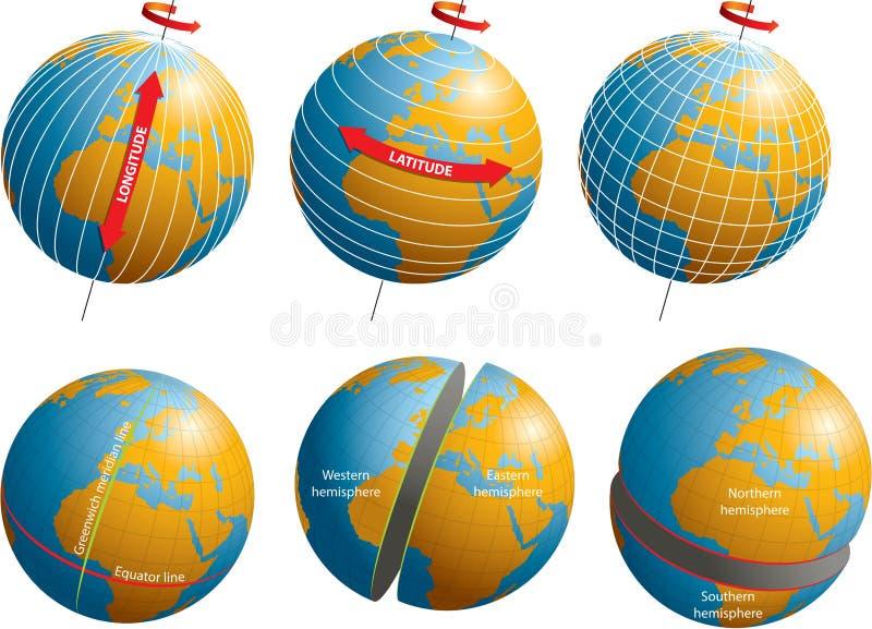 Latitudine-longitudine illustrazione vettoriale