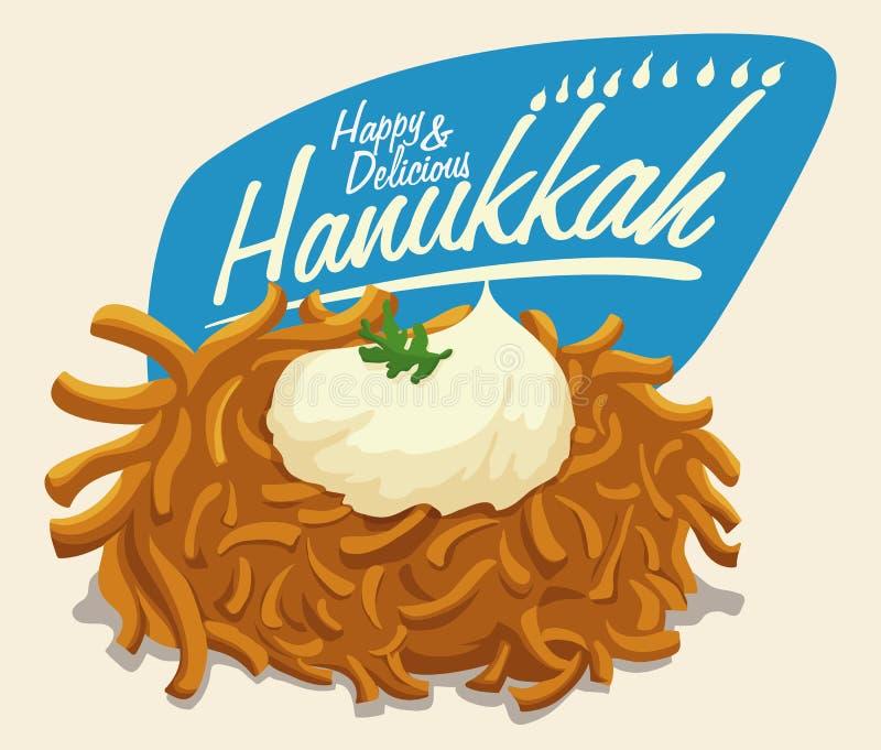 Latke con el mensaje de la crema agria y de Jánuca, ejemplo del vector libre illustration