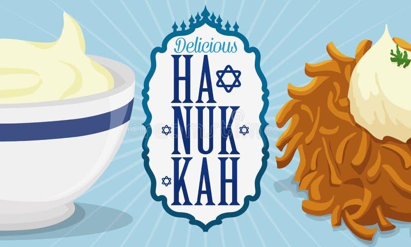Latke et sauce délicieux avec le label commémorant des traditions de Hanoucca, illustration de vecteur illustration libre de droits