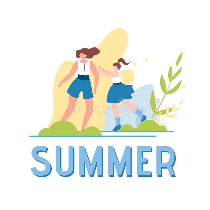 Lato świat i Szczęśliwa Chodząca Rodzinna ilustracja royalty ilustracja