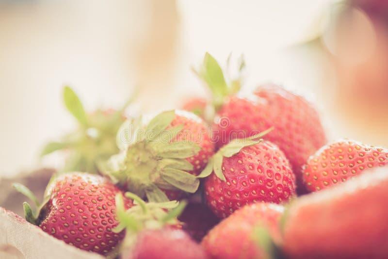 Lato: Świeże czerwone truskawki w filiżance, drewniany stół fotografia stock