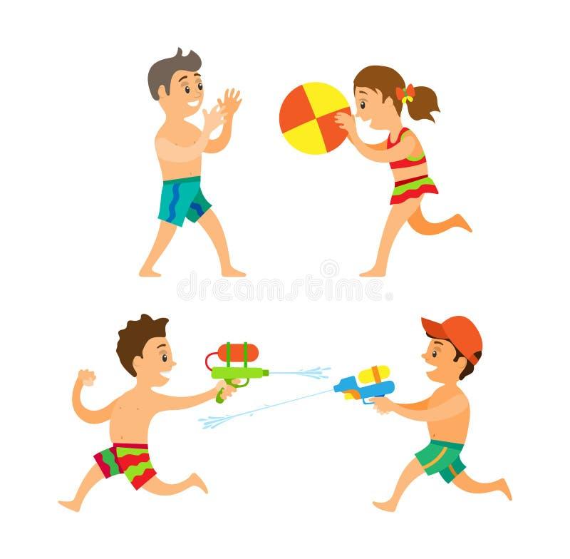 Lato aktywność, chłopiec i dziewczyna Bawić się na plaży, ilustracja wektor