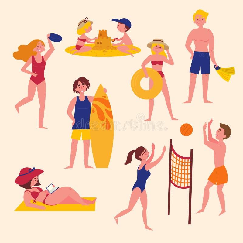 Lato aktywność na plaży czas wolny paragliding sporta zmierzch ilustracji