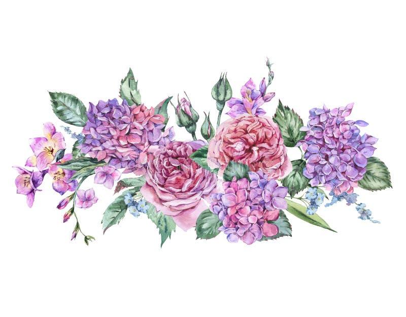 Lato akwareli rocznika Kwiecisty bukiet z Kwitnącą hortensją ilustracja wektor