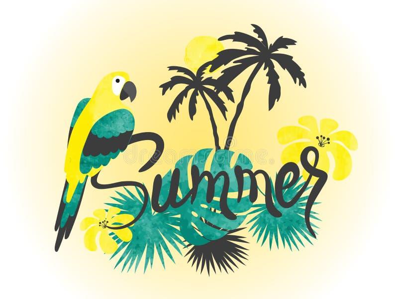 Lato akwareli tropikalna wektorowa ilustracja z papugą i drzewkami palmowymi ilustracja wektor