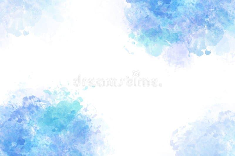 Lato błękitne wody pluśnięcia abstrakt lub akwareli farby tło ilustracji