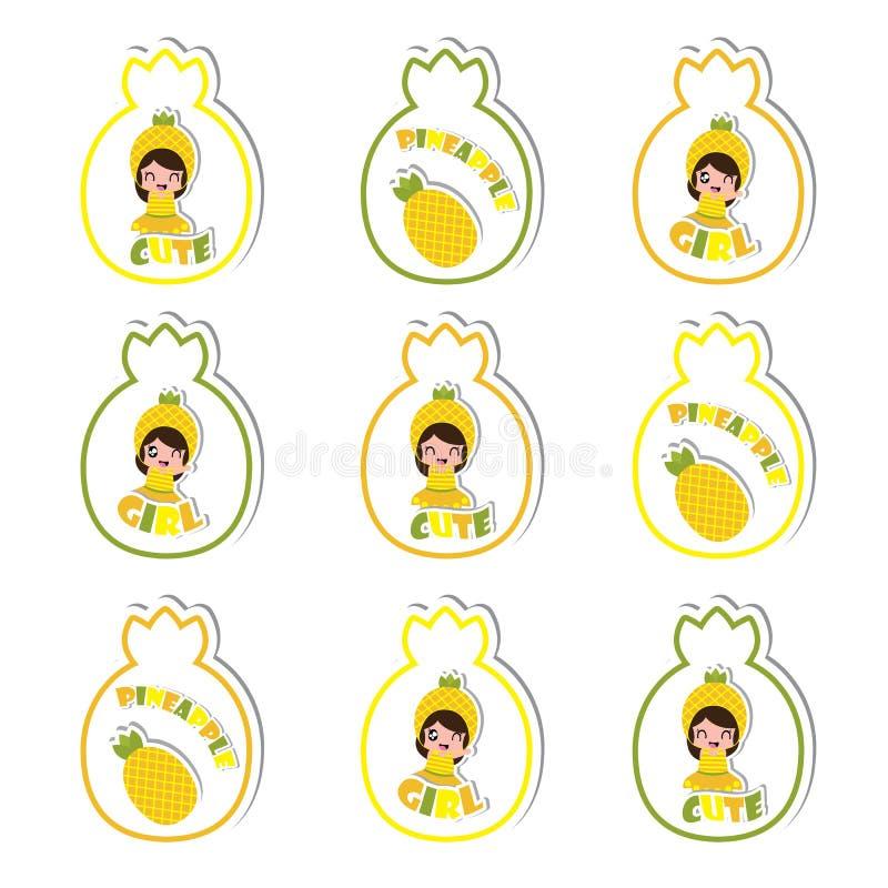Lato babeczki numer jeden z ślicznymi ananasowymi dziewczynami i ananasowa fuit kreskówka dla lato dzieciaka bawimy się royalty ilustracja