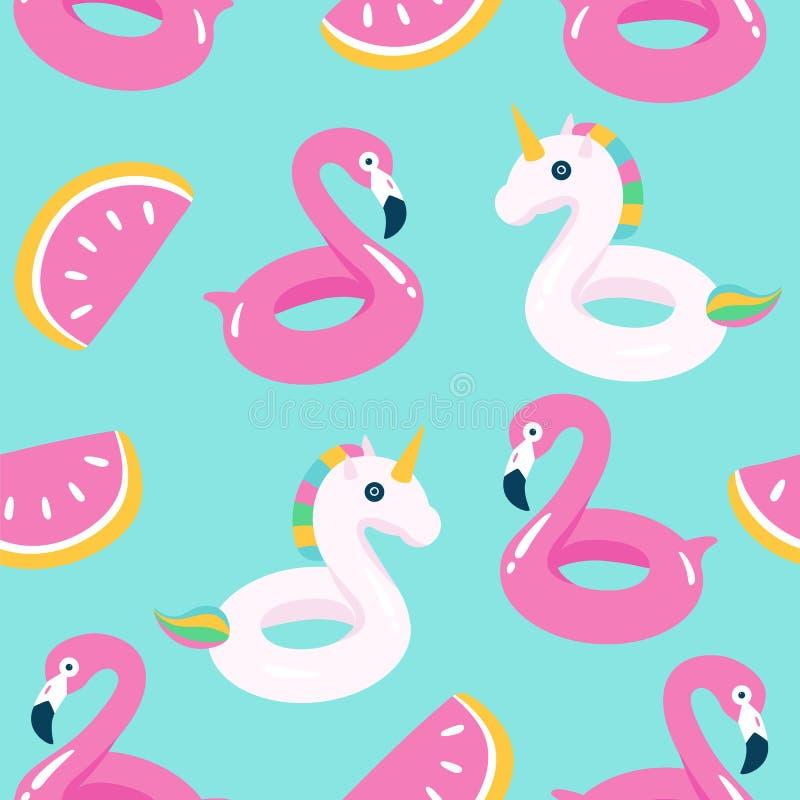 Lato basen unosi się z flamingiem i jednorożec bezszwowy wzoru royalty ilustracja