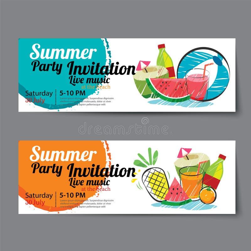 Lato basenu przyjęcia bileta szablon royalty ilustracja