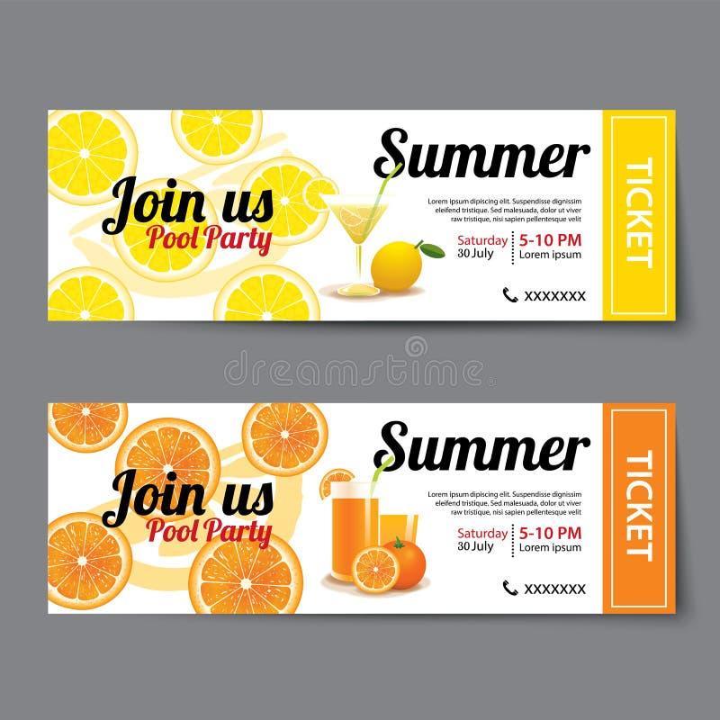 Lato basenu przyjęcia bileta szablon ilustracji