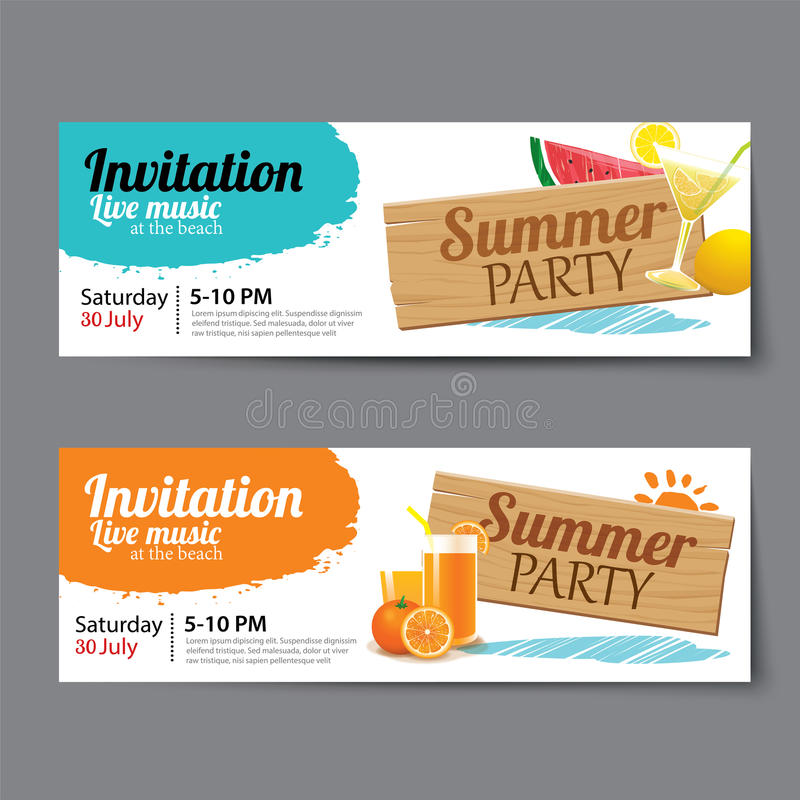 Lato basenu przyjęcia bileta szablon ilustracja wektor
