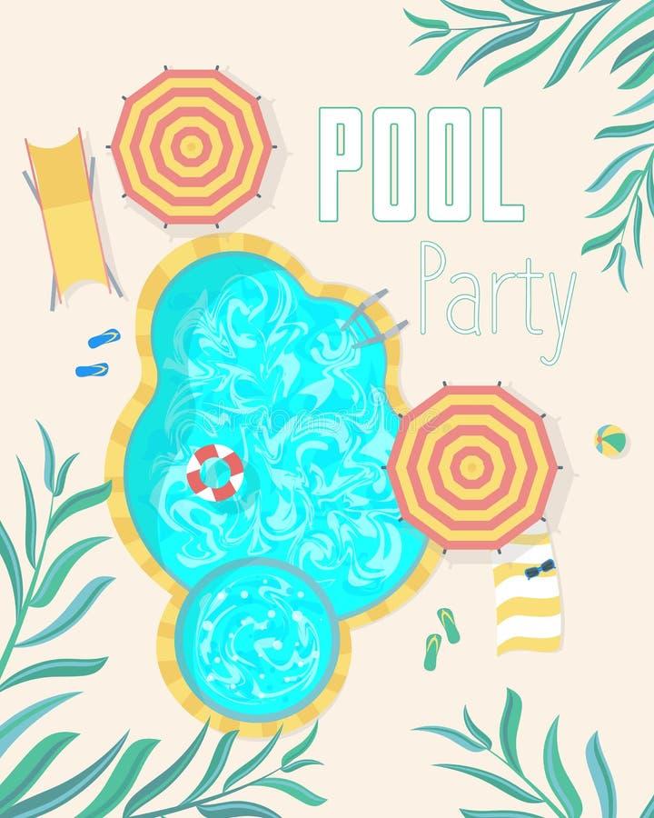 Lato basenu przyjęcia zaproszenia plakatów karta wektor ilustracji