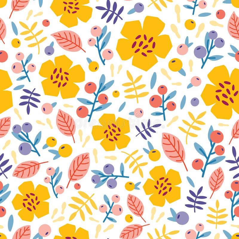 Lato bezszwowy wzór z kwitnienie roślinami na białym tle Kwiecisty tło z łąk jagodami i kwiatami mieszkanie ilustracji