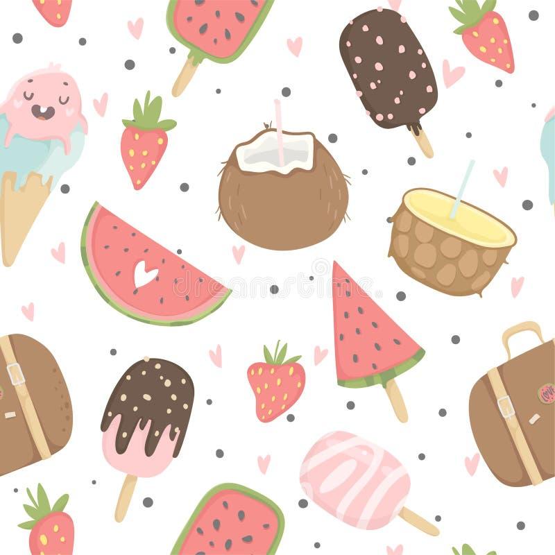 Lato bezszwowy wzór z lody, owoc, kropki, truskawki, serca royalty ilustracja