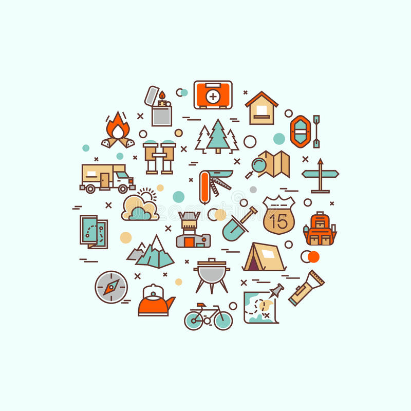 Lato camping, pięcie, trekking, wycieczkuje, mountaineering, ekstremum bawi się, plenerowy wektorowy pojęcie z kreskowymi ikonami ilustracji