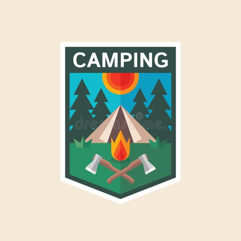 Lato camping - pojęcie odznaka w płaskim projekta stylu Przygody osłony logo wektoru retro ilustracja Wyprawa badacz kreatywnie ilustracji