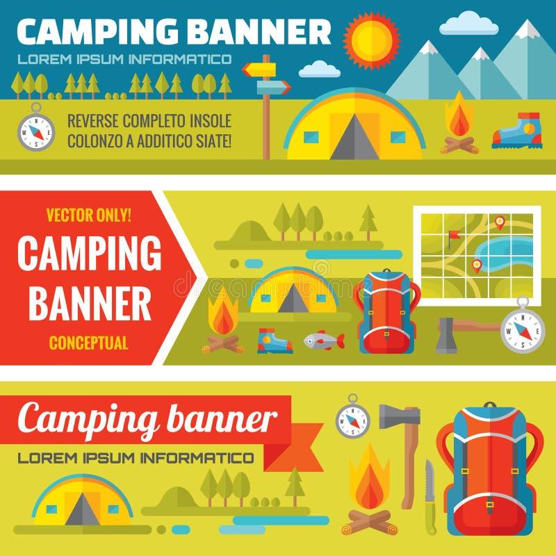 Lato camping wektorowi dekoracyjni sztandary ustawiający w mieszkanie stylu projekcie wykazywać tendencję - halne wypraw przygody royalty ilustracja