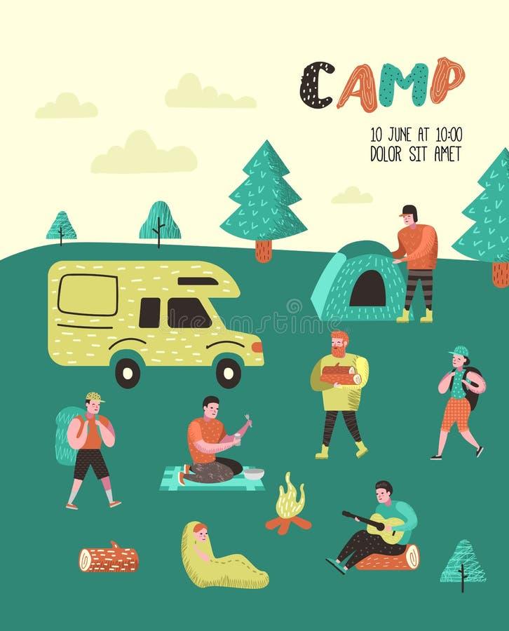 Lato Campingowy plakat, sztandar Postać Z Kreskówki Zaludniają w Obozowym plakacie, zaproszenie, tło Podróży wyposażenie royalty ilustracja
